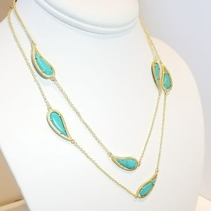 Jewelry - SALE !! NEW Paisley Turquoise Matte Gold Necklace